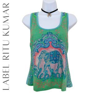 LABEL RITU KUMAR Elephant Graphic Tank Top, S, NWT